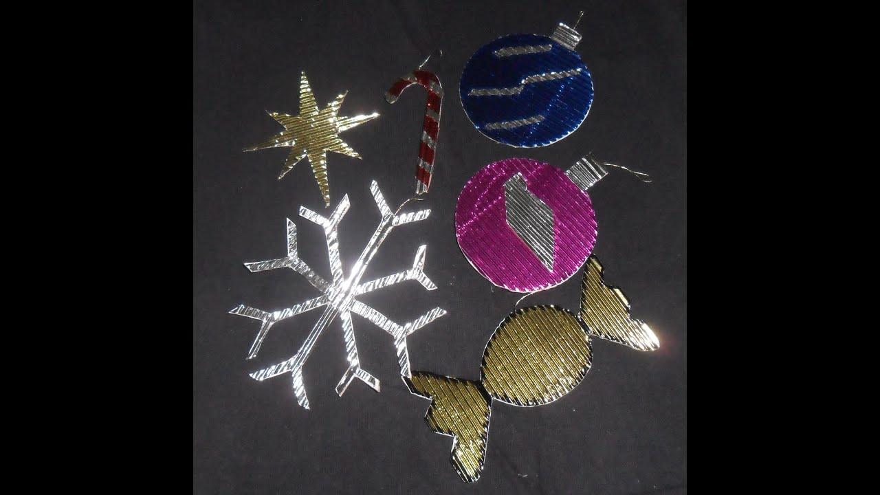 Colgantes navide os con papel corrugado metalico youtube - Adornos de navidad con cartulina ...