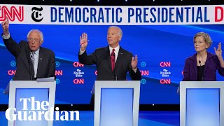 From hugs to spats: key moments from the Democratic debate
