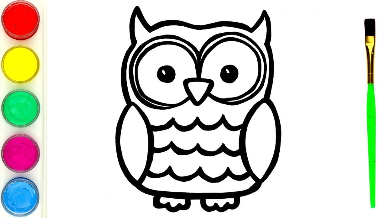 How to Draw Owl Watercolor Drawing and Painting for kids step by step
