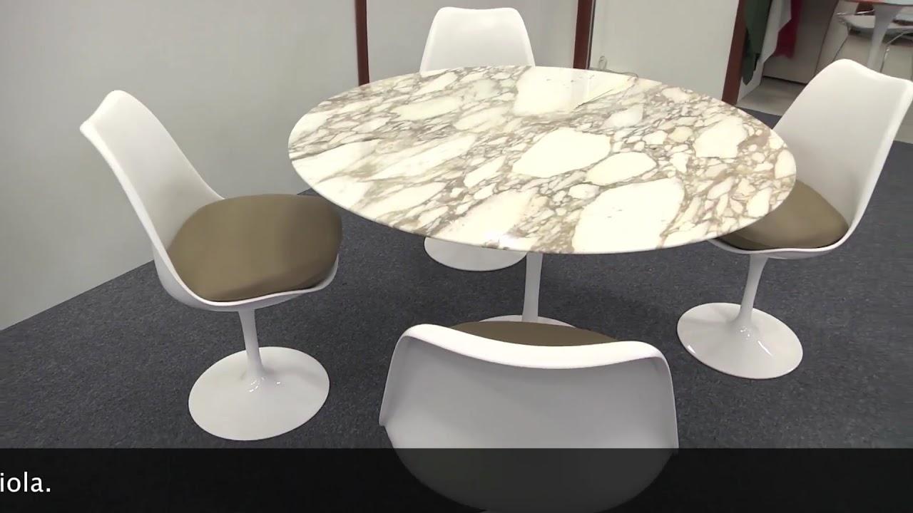 Tavolo Saarinen tondo e sedie Tulip - YouTube