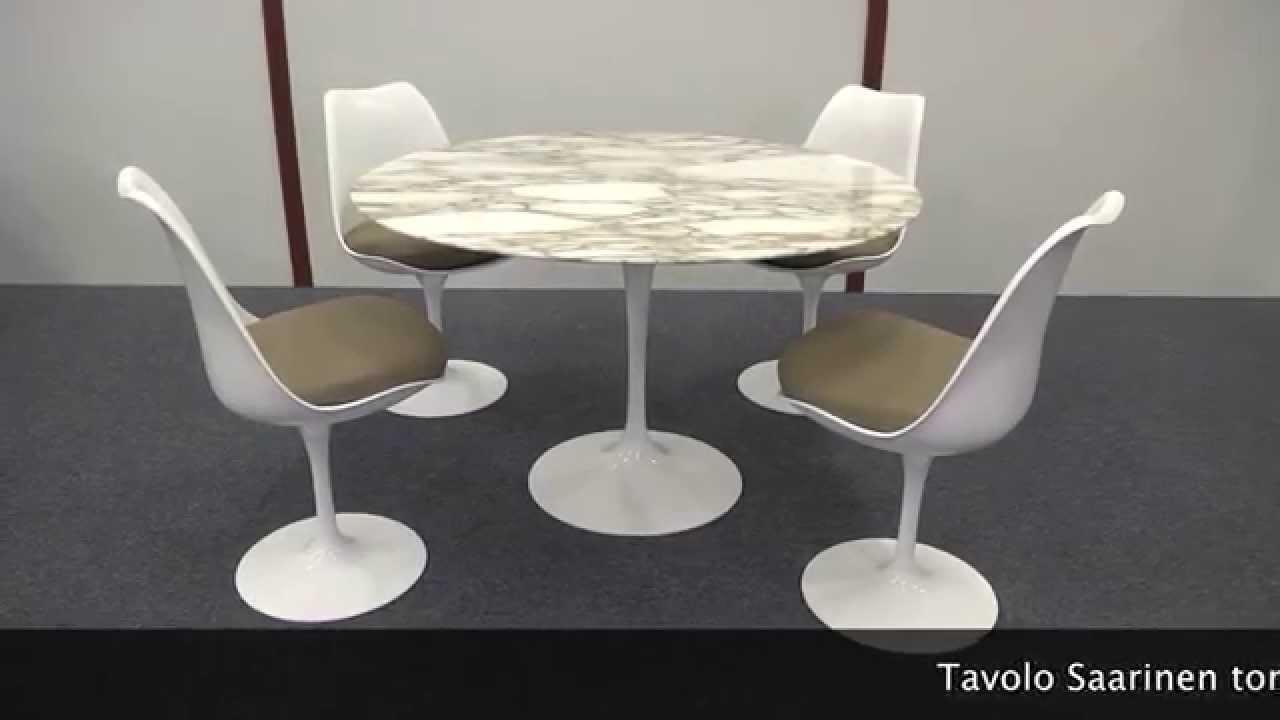 Tavolo Saarinen Marmo : Tavolo saarinen tondo e sedie tulip youtube