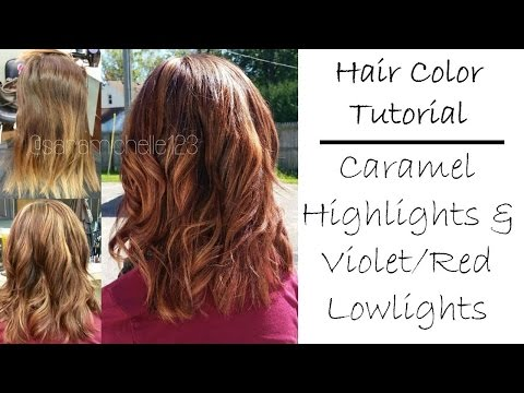 Fall Hair Color Tutorial | Caramel Blonde Highlights & Violet Red Lowlights