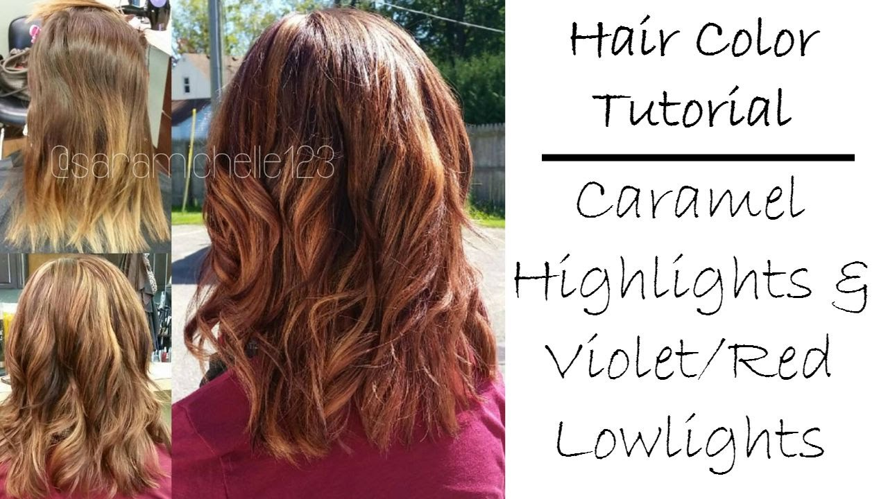 Fall Hair Color Tutorial | Caramel Blonde Highlights & Violet Red ...