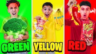 Brothers Eat Only ONE Color Of Food For 24 Hours Challenge!
