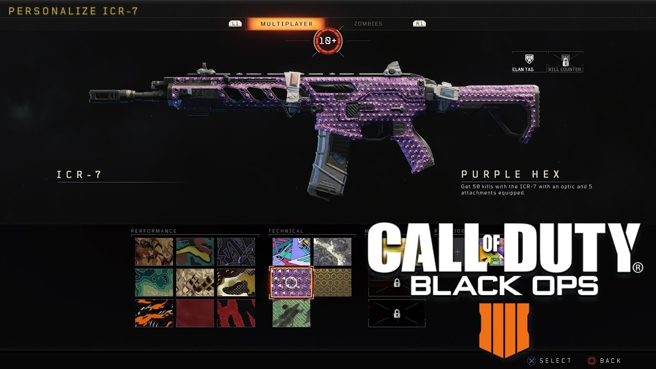 Call Of Duty Black Ops 4 - How To Get Purple Hex Camo For ICR-7 (Working  Attachments)