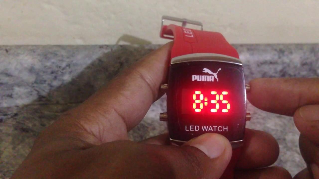 79dbdc56024 relogio puma ajustando horario e data passo a passo - YouTube