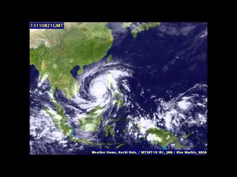 Super Typhoon Haiyan Satellite Image Time Lapse 12th November 2013