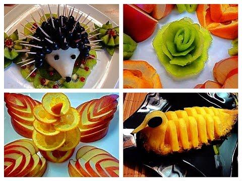 5 LIFE HACKS FRUITS GARNISH FLOWER & FRUITS CARVING - APPLE ORANGE KIWI ART