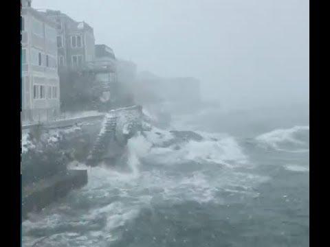 Massive winter storm causes crashing waves off coast of Massachusetts
