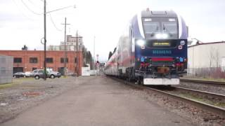 (HD) IDOT 4611 (SC-44 Charger) Amtrak 941 into Eugene,Oregon