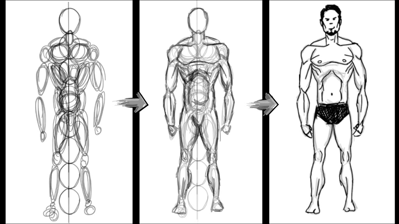 How to draw a basic Human Figure Using Circles Only - Photoshop ...
