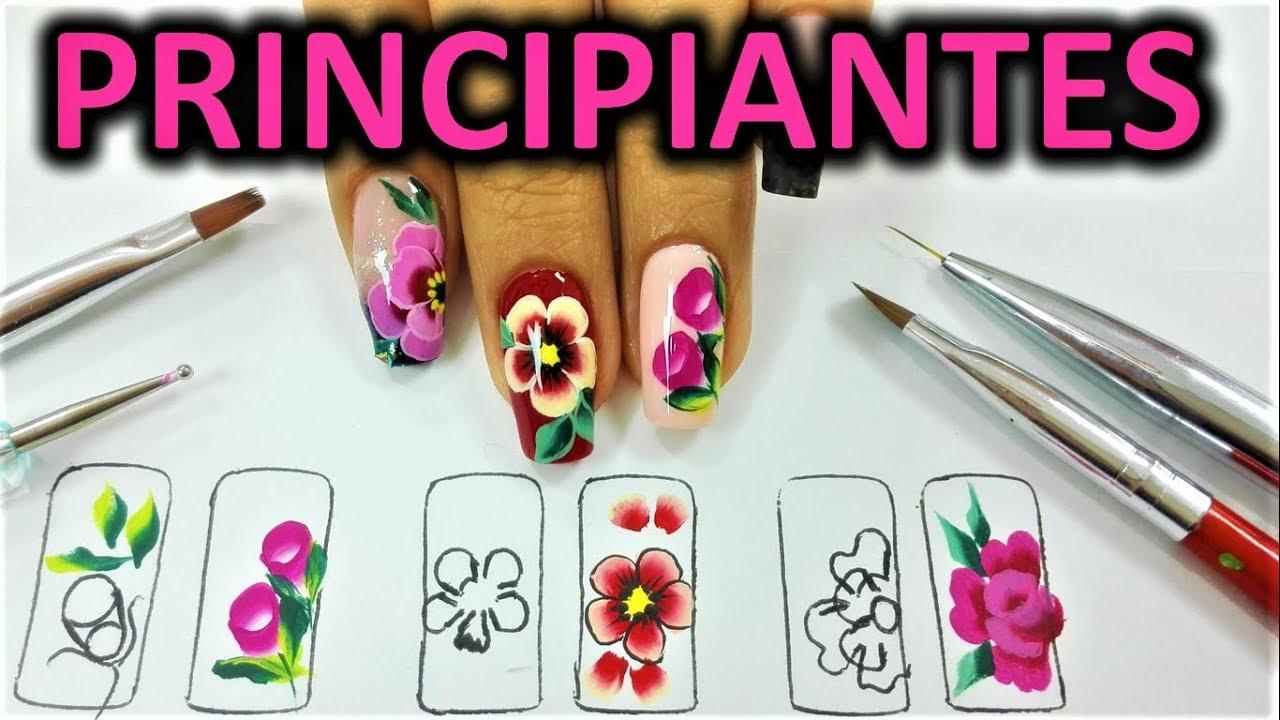 Dibujar 5 Pinceladas En Tus Uñas Como Pintar Flores Pinceladas Pincelada Para Principiantes