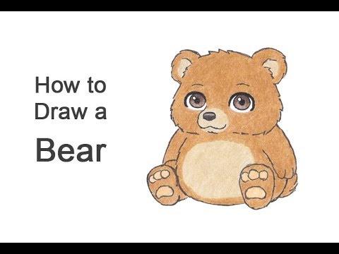 How To Draw A Bear Sitting (Cartoon)