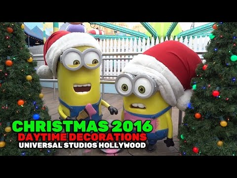 Christmas decorations daytime at Universal Studios Hollywood 2016