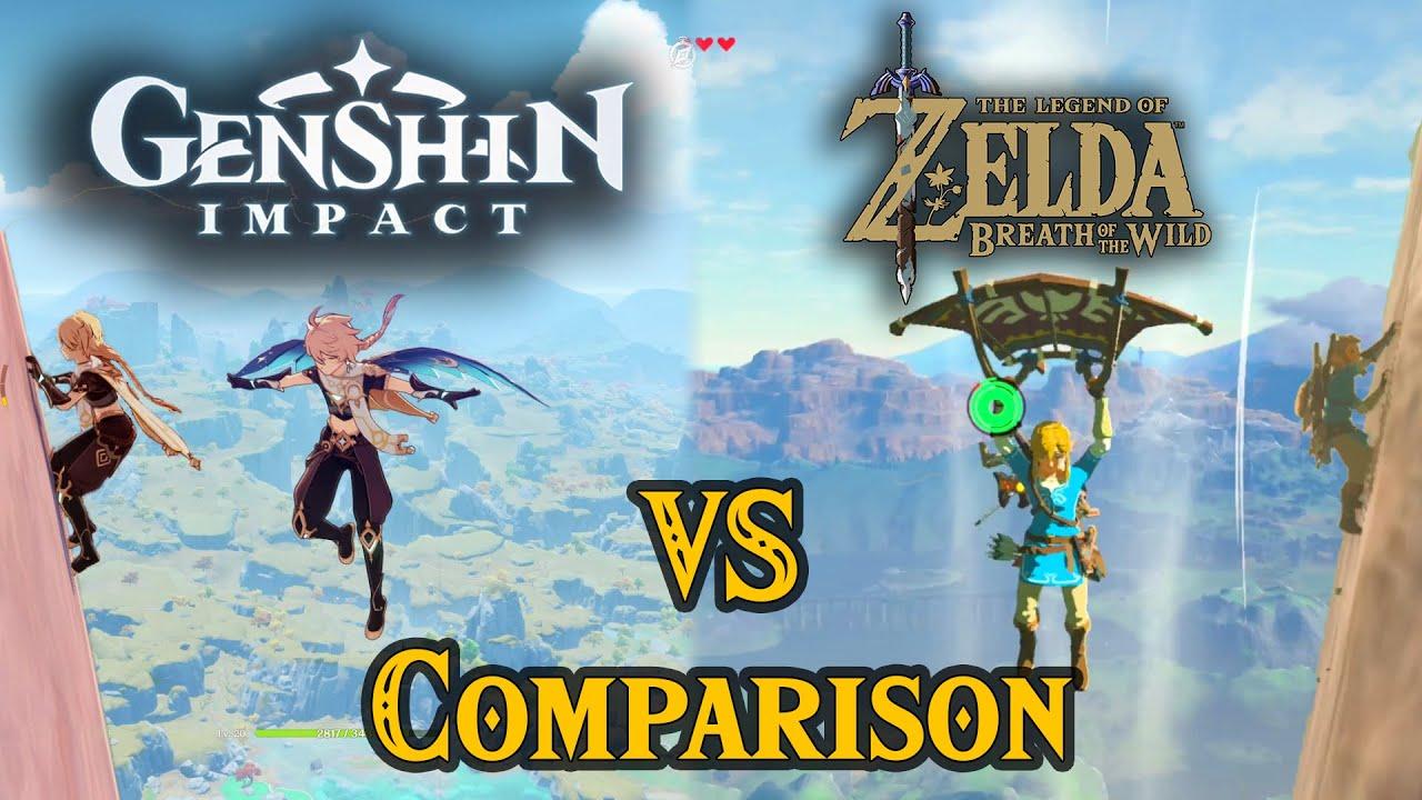 Genshin Impact Vs Zelda Breath Of The Wild Comparison Synced Side By Side Youtube