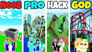Minecraft: FAMILY ROLLER COASTER BUILD CHALLENGE - NOOB vs PRO vs HACKER vs GOD in Minecraft
