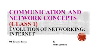 TRB -Communication and Network Concepts (Class 1)- Evolution of Networking:Internet