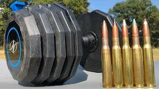50 BMG vs Adjustable Dumbbell 💪