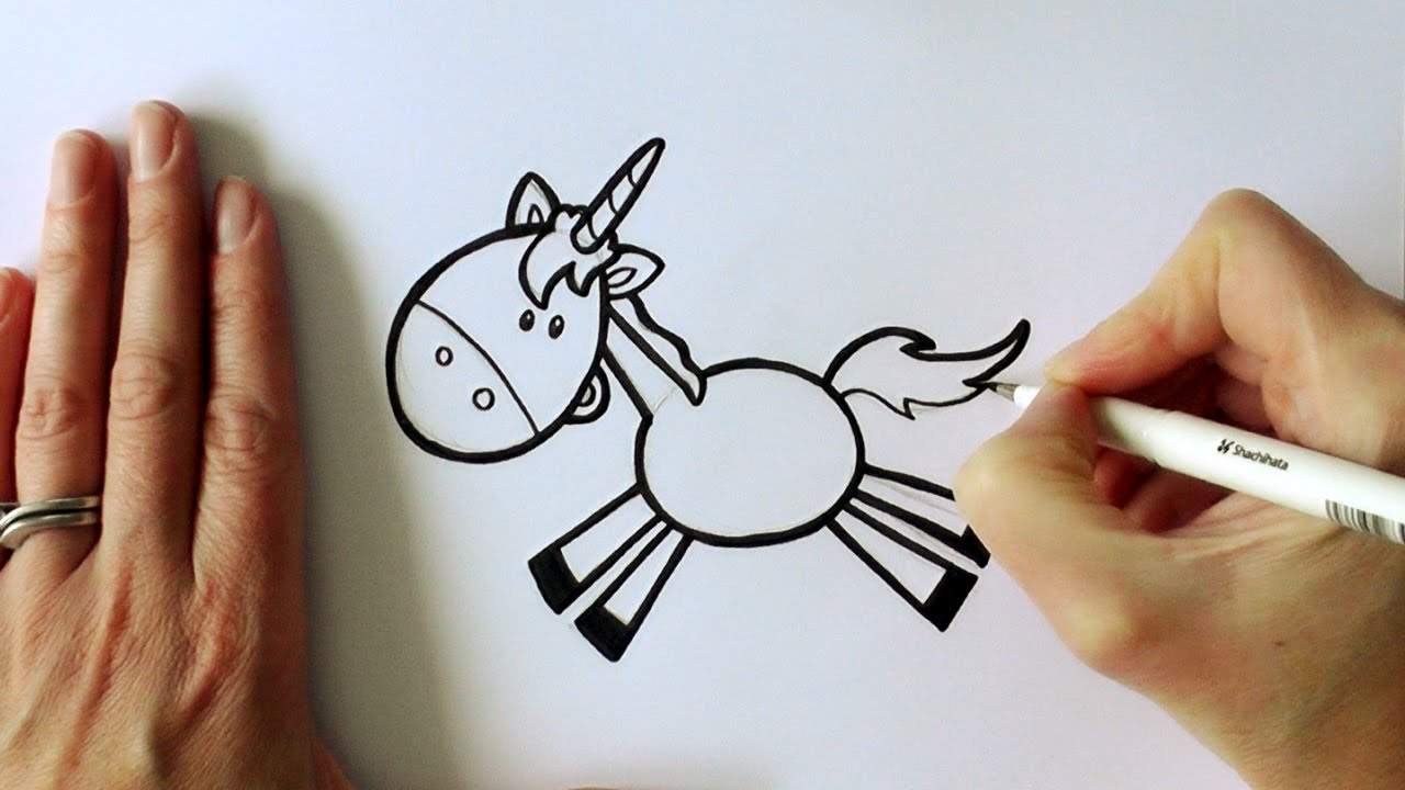 how to draw a cartoon leaping unicorn youtube