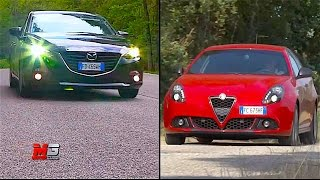 NEW ALFA ROMEO GIULIETTA 1.6 JTDM VS MAZDA 3 1.5D SKYACTIV - FIRST TEST DRIVE - ENG ITA SUB