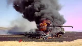 Комбайны горят прямо в поле   Combine on fire #1(Комбайны горят прямо в поле Combine on fire комбайн загорелся, комбайн в огне, горящий комбайн, горящие комбайны., 2016-11-12T15:06:10.000Z)