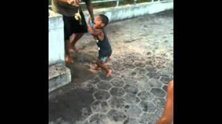 Manuel Runs Away from dead crab at Orchard Beach