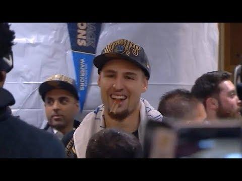 Warriors Sweep Cavs Locker Room Celebration & Postgame Talk | NBA GameTime | June 8, 2018