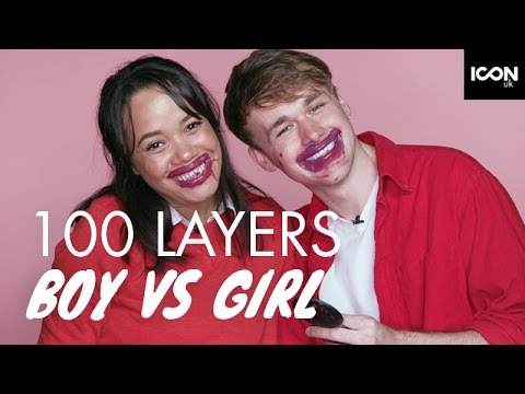 100 LAYERS OF LIQUID LIPSTICK MAKEUP  Boy Vs Girl  ICON UK