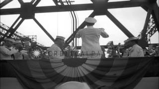 A navy band plays during christening of USS Ranger in Newport News, Virginia. HD Stock Footage