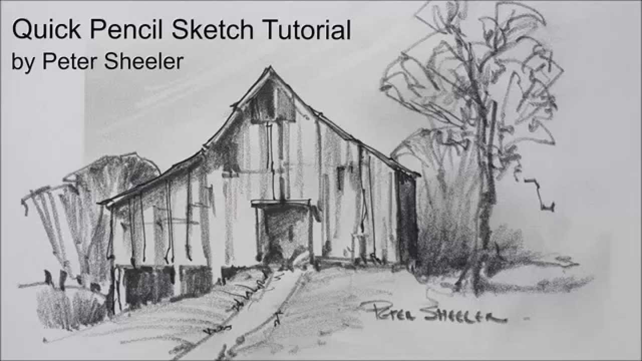 Sketching Tutorial With Pencil Quick And Easy Techniques Barn Sketch By Peter Sheeler