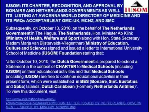 IUSOM: ITS CHARTER, RECOGNITION, AND APPROVAL BY BONAIRE AND NETHERLANDS GOVERNMENTS AND BY AVICENNA