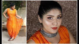 #NavrangiNavratri | Indian Get Ready With Me | Burnt Orange Eyes And Lips