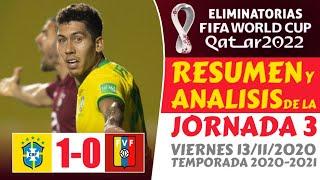 Resumen ELIMINATORIAS Sudamericanas QATAR 2022 🏆 BRASIL vs VENEZUELA (1-0) hoy [GOLES] CONMEBOL ⚽️🔥