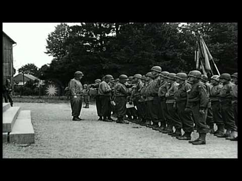 Decoration of United States troops by Major General Lawton Collins in Europe. HD Stock Footage