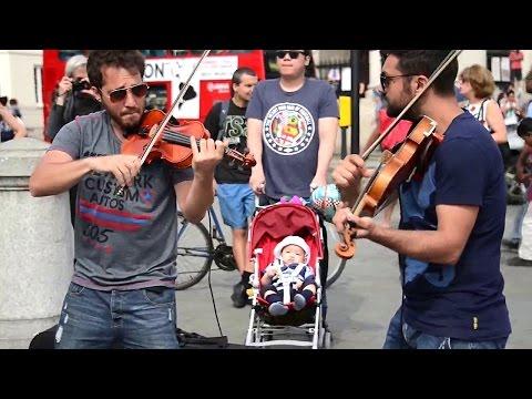 Hey Soul Sister Violin Street Performer Cover - live Street Violin performers