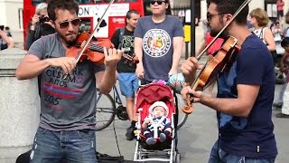 Hey Soul Sister Amazing street performers Violin Cover Songs - live Street Performance