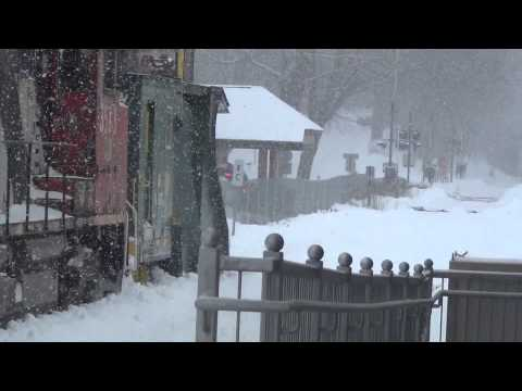 Thumbnail: HD Railfanning in Heavy Snow - Amtrak + Maine Eastern Plow Extra in Brunswick ME - 2/11/2013