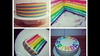 Sallys Regenbogentorte Rezept und Anleitung  / Rainbowcake Recipe