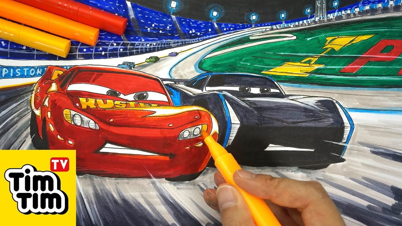 How to draw CARS 3 LIGHTNING McQUEEN vs JACKSON STORM ...