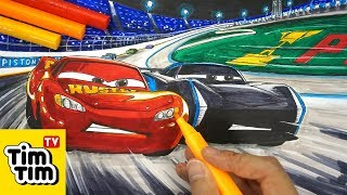 How to draw CARS 3 LIGHTNING McQUEEN vs JACKSON STORM | Easy step-by-step for kids | Art colors