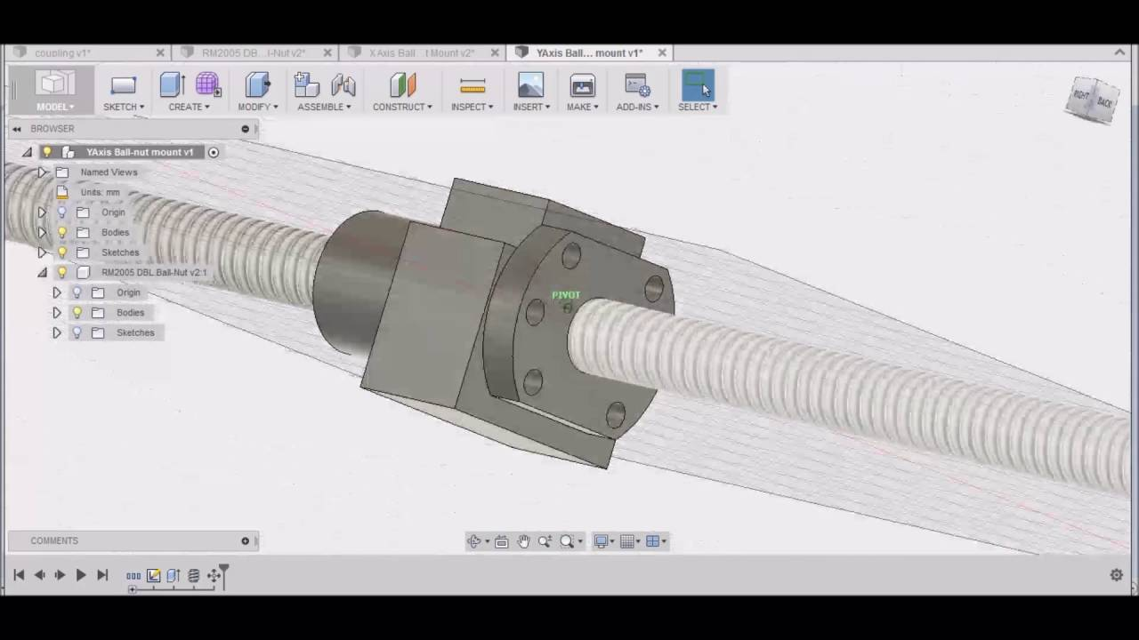 Fusion 360 Y Axis Ball Nut Mount