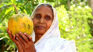 Our Grandma like to eat Papaya, Milk & Rice | Village old Traditional Healthy Food