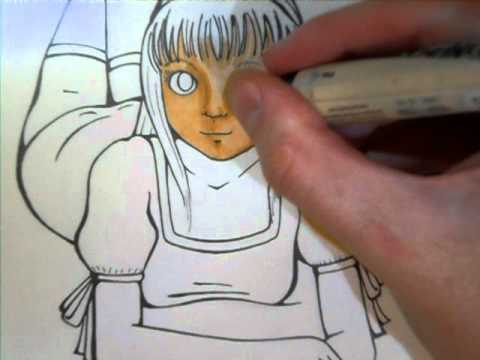 Prismacolor markers: four tone facial coloring demonstration - YouTube