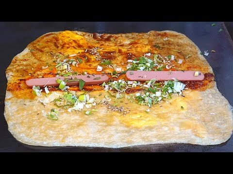 Egg filling Spicy Chinese Crepes (Jidan Guan Bing) – Korean Street Food