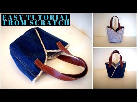 DIY CUTE BAG/coudre un petit sac/bolsa diy/bolsa de bricolaje/REUSE OLD CLOTHES/ เย็บกระเป๋าผ้า