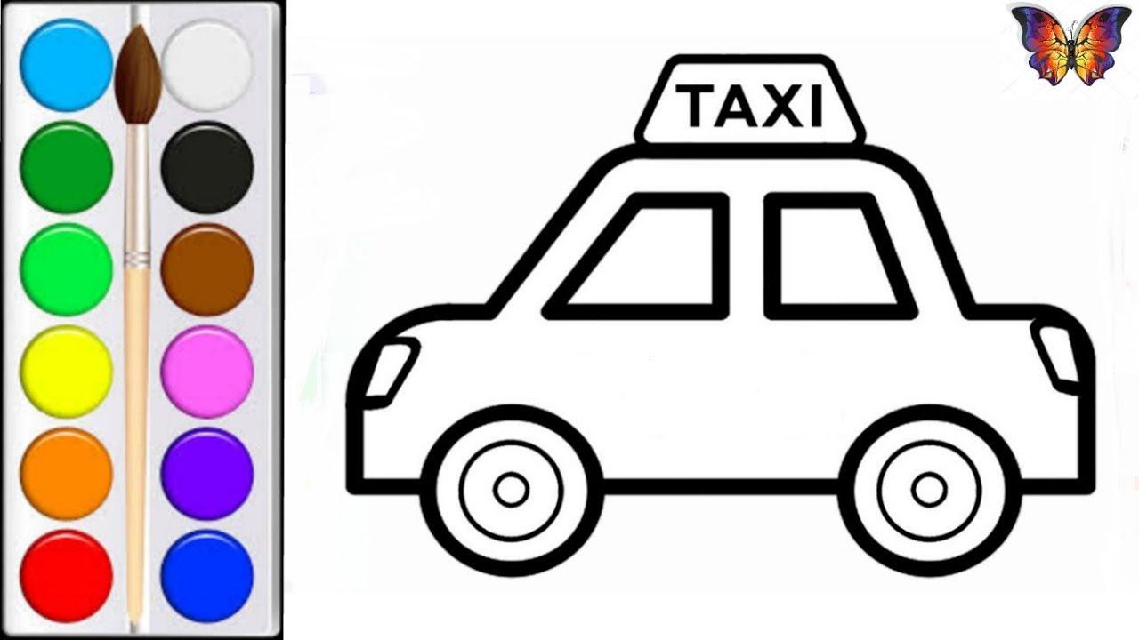 Как нарисовать МАШИНУ ТАКСИ / мультик раскраска ТАКСИ для ...