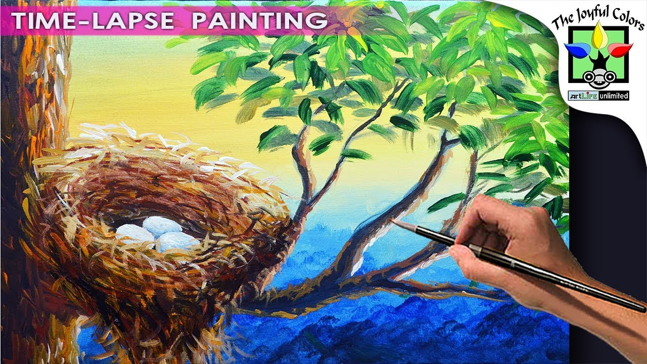 Bird Nest With Eggs Painting Tutorial Using Acrylic Paints