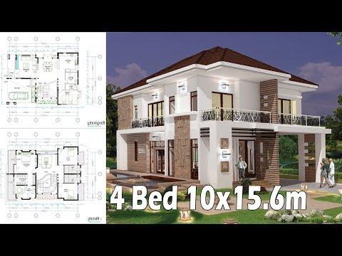 4B Home Design Plan Full Exterior and Interior 10x15.6m