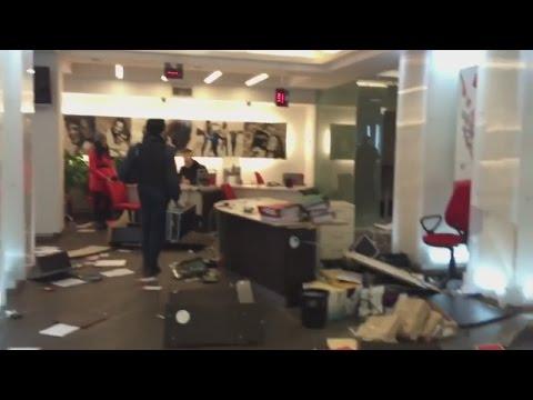Ukraine War - Russian bank office trashed in Kiev Ukraine - Ukraine News