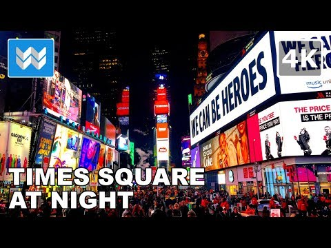 Walking around Times Square at Night in New York City 【4K】